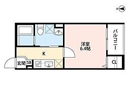 近鉄南大阪線 矢田駅 徒歩13分の賃貸アパート 1階1Kの間取り