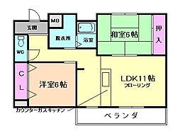 大阪府豊中市服部本町4丁目の賃貸マンションの間取り