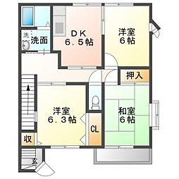 ハイステージ江島B 2階3DKの間取り