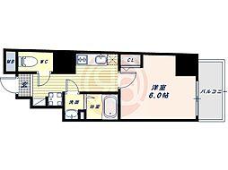 阪堺電気軌道上町線 松虫駅 徒歩3分の賃貸マンション 9階1Kの間取り