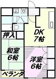小宮キザキコーポ[203号室]の間取り