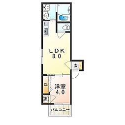 阪急神戸本線 神崎川駅 徒歩8分の賃貸アパート 1階1LDKの間取り