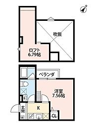 Osaka Metro御堂筋線 なかもず駅 徒歩12分の賃貸アパート 2階1Kの間取り