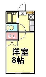 JR高崎線 北鴻巣駅 徒歩13分の賃貸アパート 1階1Kの間取り