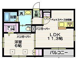 JR常磐線 南千住駅 徒歩17分の賃貸マンション 2階1LDKの間取り