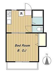 東京都多摩市関戸2丁目の賃貸アパートの間取り