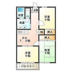 愛知県豊橋市北山町の賃貸アパートの間取り