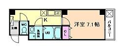 阪急宝塚本線 十三駅 徒歩5分の賃貸マンション 6階1Kの間取り