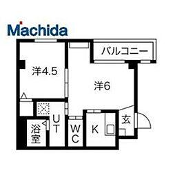 近鉄南大阪線 河内天美駅 徒歩13分の賃貸マンション 2階2Kの間取り