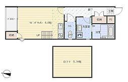 ルミネ七隈駅前 1階ワンルームの間取り