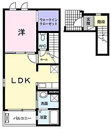 JR東海道本線 相見駅 3.3kmの賃貸アパート 2階1LDKの間取り