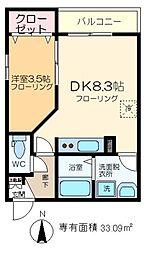 (仮称)江東橋2丁目メゾン 3階1DKの間取り
