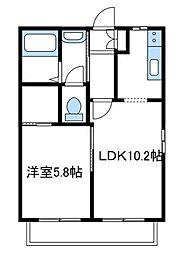 神奈川県厚木市林1丁目の賃貸アパートの間取り