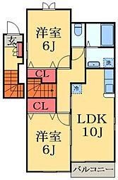 千葉県大網白里市みどりが丘4丁目の賃貸アパートの間取り