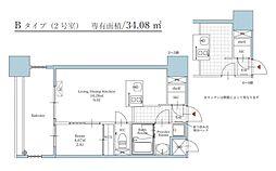 福岡市地下鉄空港線 大濠公園駅 徒歩3分の賃貸マンション 7階1LDKの間取り
