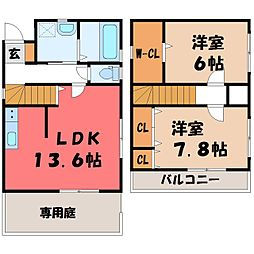 [一戸建] 栃木県宇都宮市ゆいの杜5丁目 の賃貸【/】の間取り
