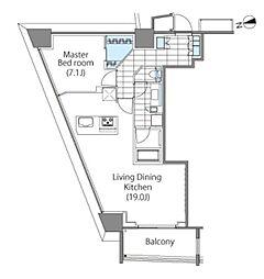 コンフォリア新宿イーストサイドタワー 8階1LDKの間取り