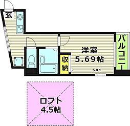 メゾンイストワール 5階1Kの間取り