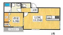 (仮称)中長尾町2丁共同住宅 1階1LDKの間取り