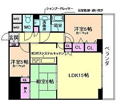 大阪府豊中市桜の町7丁目の賃貸マンションの間取り