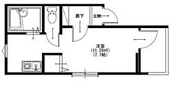 メルディア西生田I 3階1Kの間取り