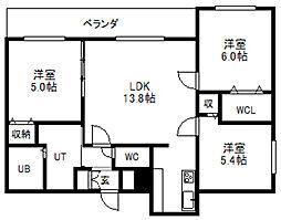 北海道札幌市中央区南十三条西8丁目の賃貸マンションの間取り