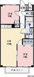 愛知県岡崎市中園町の賃貸アパートの間取り