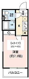 JR常磐線 柏駅 徒歩10分の賃貸マンション 3階1Kの間取り