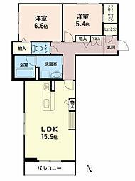 仮称)べレオ八幡 2階2LDKの間取り