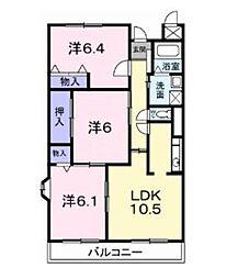 神奈川県海老名市大谷南4丁目の賃貸マンションの間取り