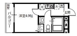 メルディア北綾瀬II 1階1Kの間取り
