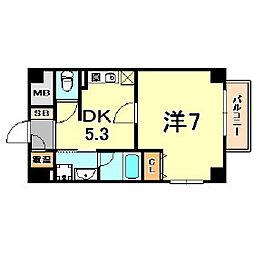 アルミュール甲南山手 2階1DKの間取り