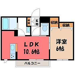 栃木県宇都宮市ゆいの杜7丁目の賃貸マンションの間取り