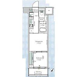 One ROOF Residence Kiba WEST 2階1DKの間取り