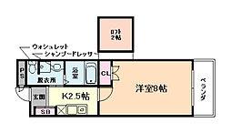 ディー・シモンズ西梅田 7階1Kの間取り