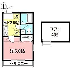 ベラビスタ西横浜 2階1Kの間取り