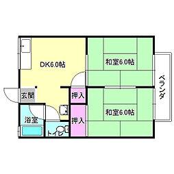 京都府八幡市男山長沢の賃貸アパートの間取り