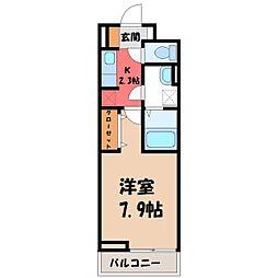 栃木県宇都宮市松が峰2の賃貸アパートの間取り