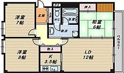 大阪府堺市西区浜寺船尾町西2丁の賃貸マンションの間取り