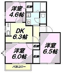 東京都八王子市久保山町1丁目の賃貸アパートの間取り