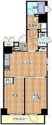 東京メトロ有楽町線 月島駅 徒歩3分の賃貸マンション 4階2LDKの間取り