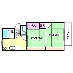 コウヅハイツ[1階]の間取り