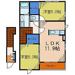 埼玉県川口市大字峯の賃貸アパートの間取り
