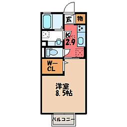 茨城県筑西市甲の賃貸アパートの間取り