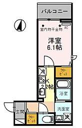 JR武蔵野線 吉川駅 徒歩4分の賃貸アパート 3階1Kの間取り