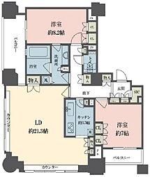 ルネ新宿御苑タワー 21階2LDKの間取り