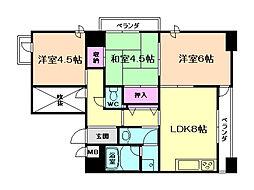 トータス西天満[4階]の間取り