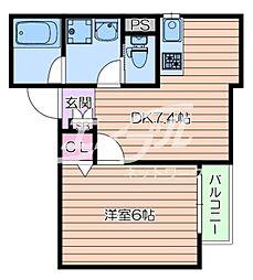 阪急千里線 豊津駅 徒歩4分の賃貸アパート 2階1DKの間取り