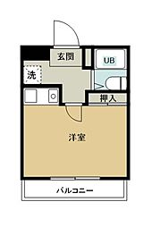 埼玉新都市交通 東宮原駅 徒歩10分の賃貸マンション 3階ワンルームの間取り