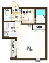 汐見坂ハウス 1階ワンルームの間取り